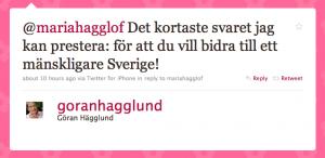 Svar från Göran Hägglund