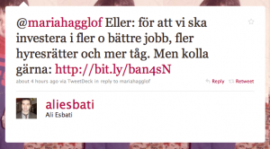 Svar från Ali Esbati