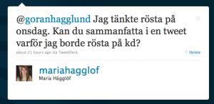 Tweet till Göran Hägglund