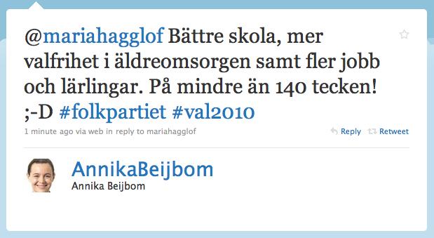 Svar från Annika Beijbom