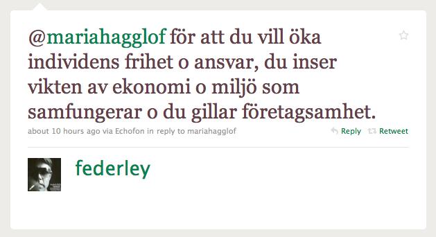 Svar från Fredrick Federley